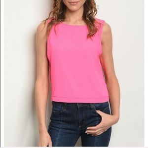 Sleeveless cropped top neon pink open back